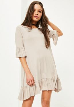 Grey Frill Hem and Sleeve Swing Dress