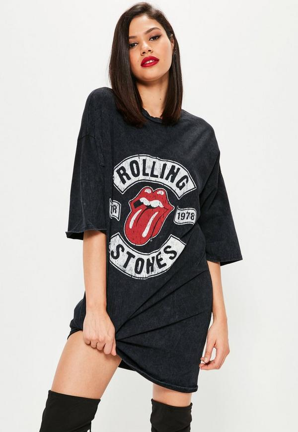 Black Rolling Stones Rock T Shirt Dress Missguided
