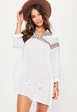 White Oversized Embroidered Yoke Swing Dress