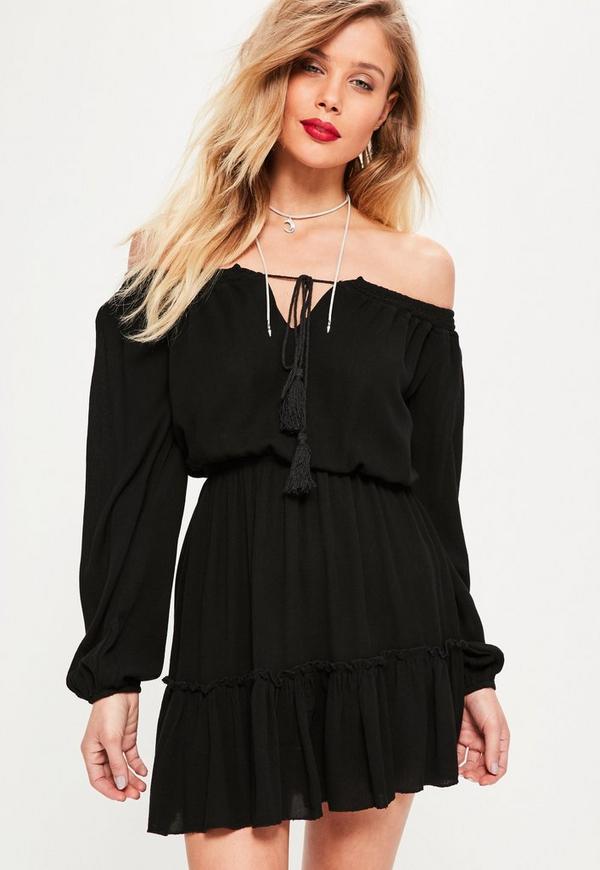 Black Ruffle Hem Tassel Waisted Bardot Dress