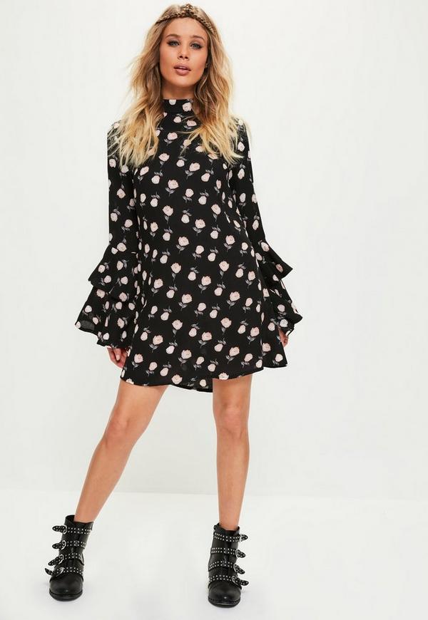 Black Base Rose Print Layer Sleeve Swing Dress