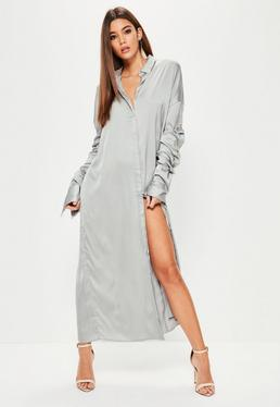 Grey Satin Ruched Layered Sleeve Maxi Dress