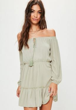Green Ruffle Hem Tassel Waisted Bardot Dress