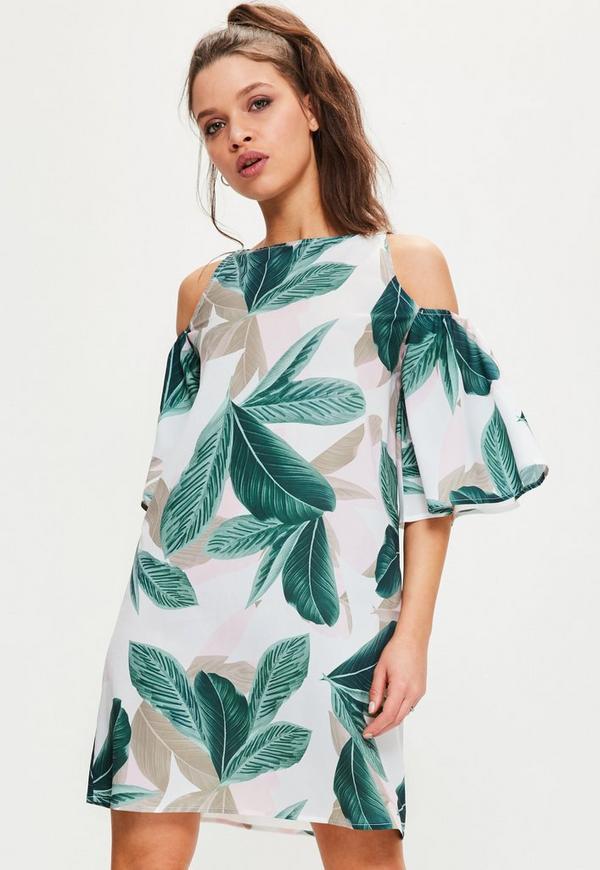 White Palm Leaf Cold Shoulder Swing Dress Missguided