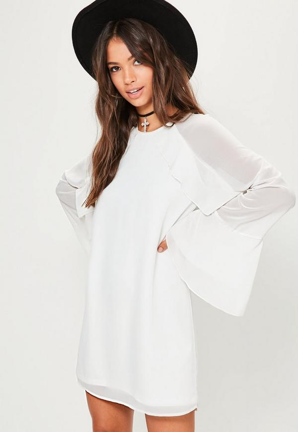White Ruffle Sleeve Detail Shift Dress