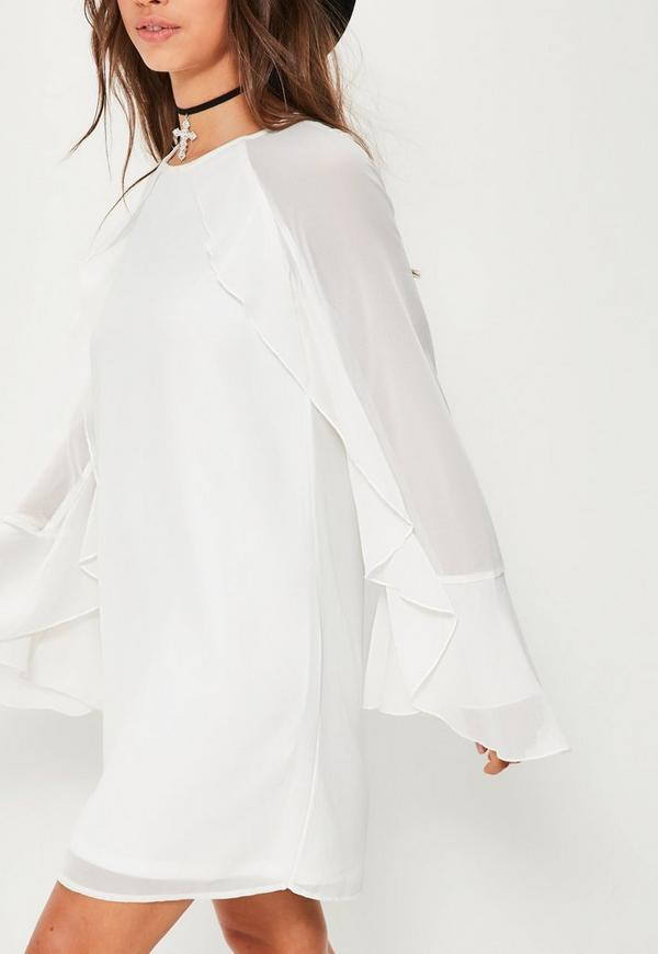 White Ruffle Sleeve Detail Shift Dress | Missguided