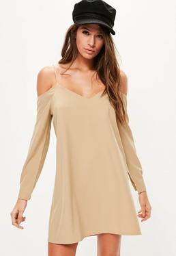 Camel Cold Shoulder Cami Swing Dress