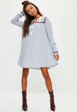 Blue oversized striped embroidered yoke swing dress