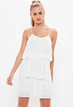White Pleated Layered Swing Dress