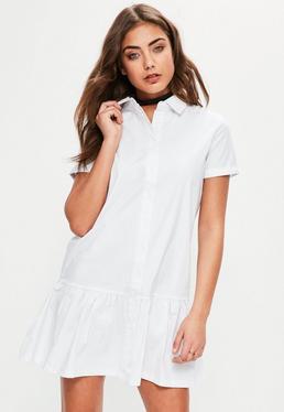 White Ruffle Hem Oversized Shirt Dress