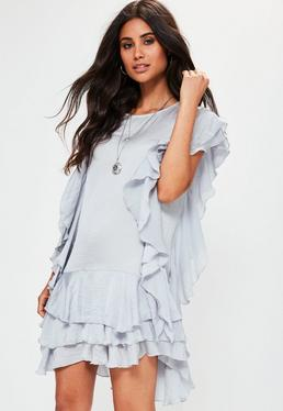 Grey Ruffle Layered Mini Dress