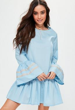 Blue Ruffle Hem Oversized Trim Cuff Dress