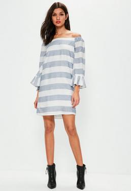 White Stripe Bardot Frill Sleeve Swing Dress