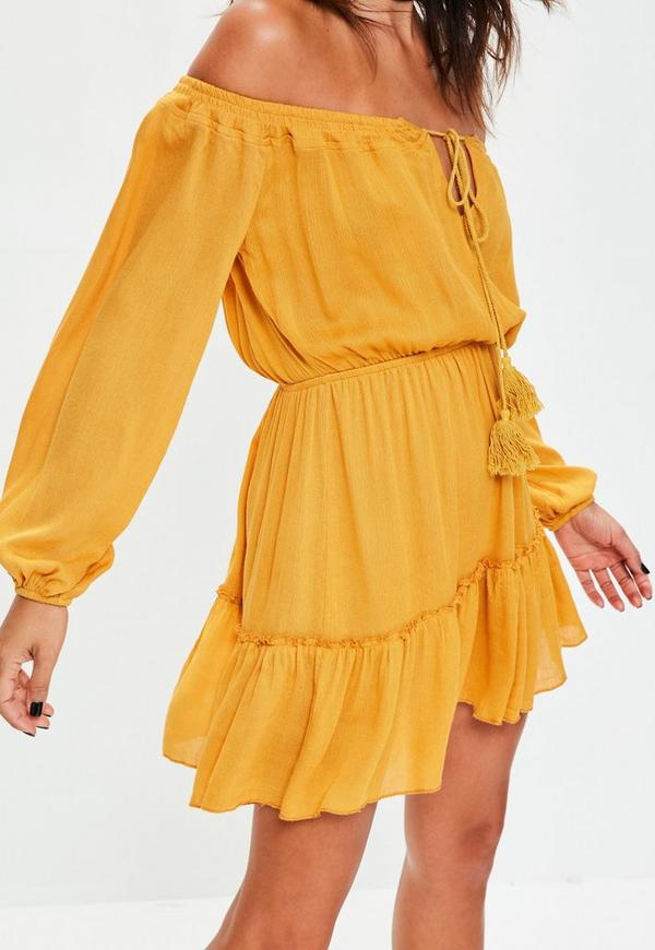 Yellow Ruffle Hem Tassel Waisted Bardot Dress Missguided