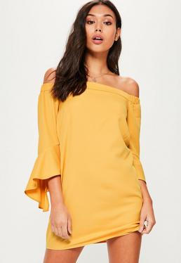 Yellow Bardot Ruffle Sleeve Shift Dress