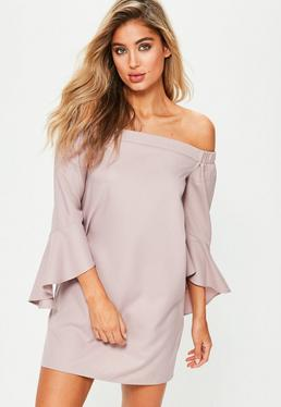 Pink Bardot Ruffle Sleeve Shift Dress