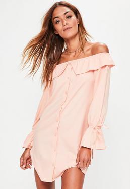 Vestido con escote bardot puños con lazada en rosa
