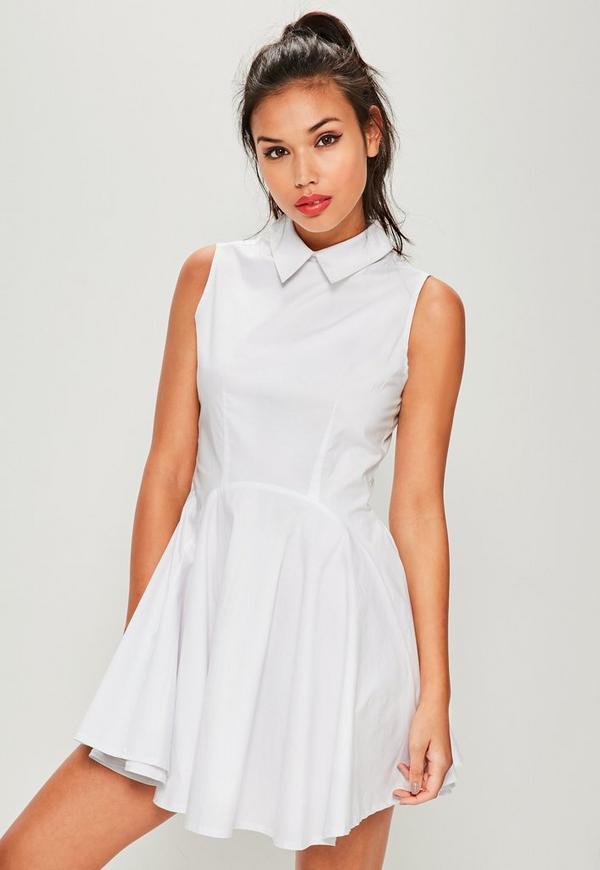 White Collar Full Skirt Dress