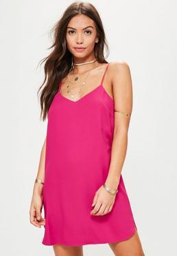 Trägerkleid aus Crepe in Pink