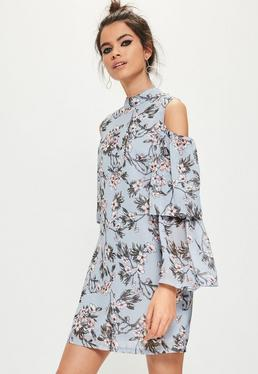blue floral cold shoulder swing dress
