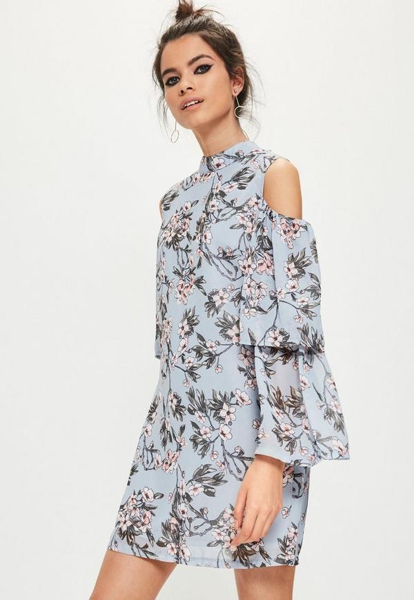 Blue Floral Cold Shoulder Swing Dress Missguided
