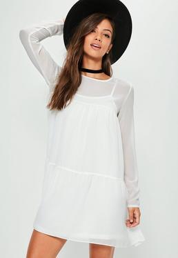 White Smock Swing Dress