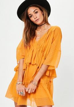 Yellow Dobby Tiered Dress
