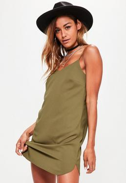 Khaki Crepe Shift Dress