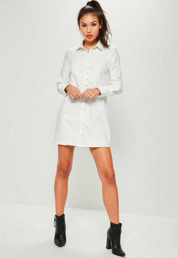 White Button Down Shirt Dress | Missguided