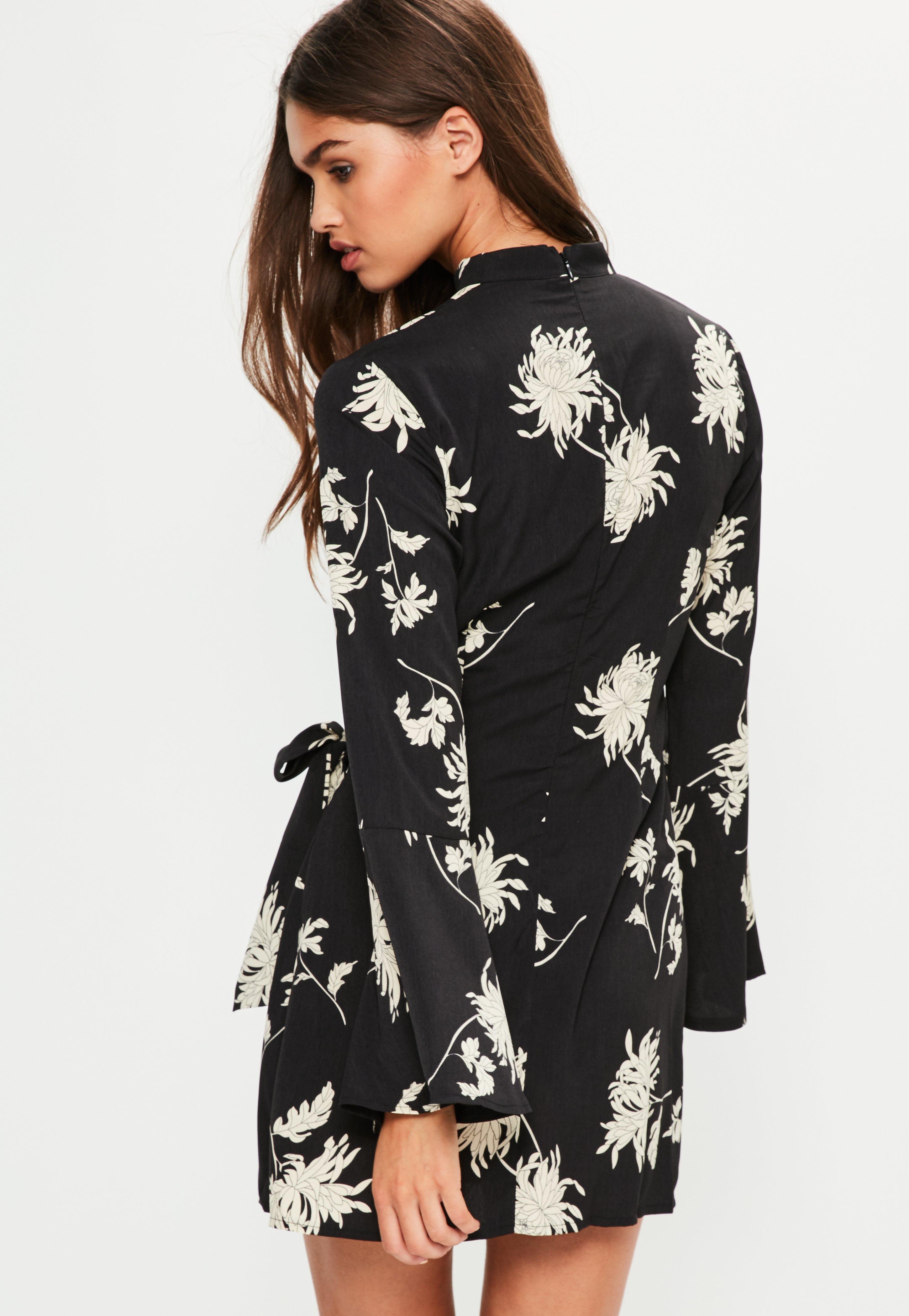 Black Floral Choker Neck Tie Side Dress