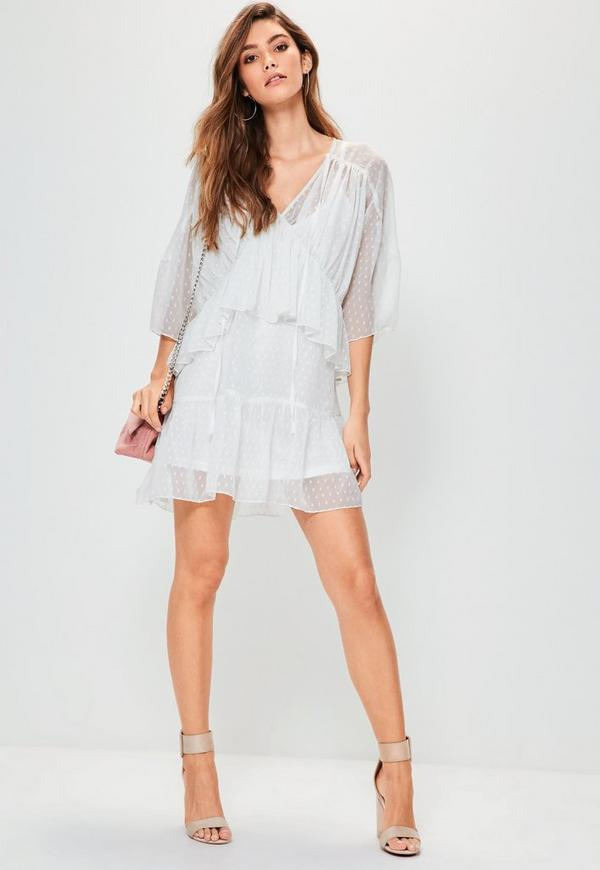 White Dobby Tiered Dress | Missguided