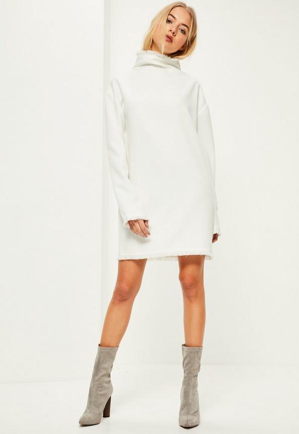 White Frayed Edge Oversized Dress