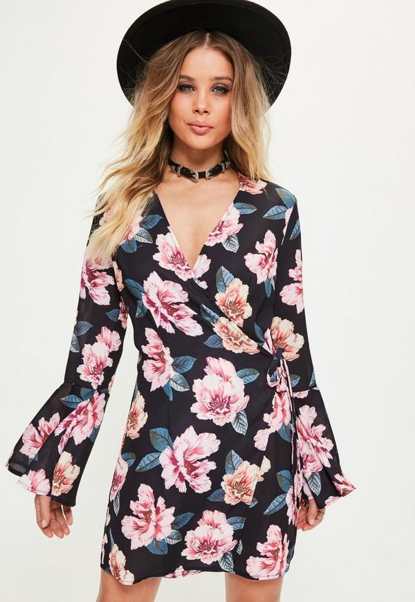 Black Pink Floral Tie Side Flare Sleeve Shift Dress