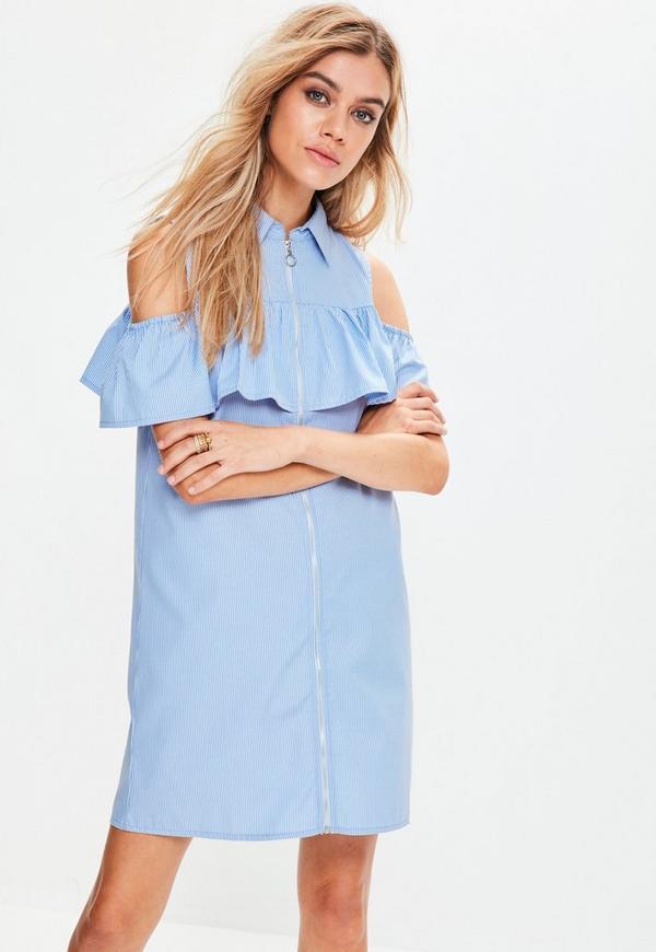 Blue Striped Ruffle Front Zip Dress