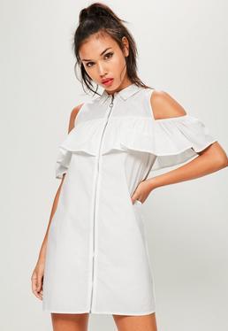 White Ruffle Front Zip Dress