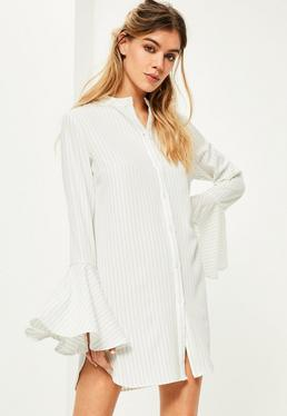 White Stripe Flare Sleeve Shirt Dress