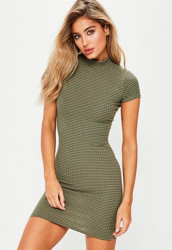 Khaki Curve Hem Bodycon Dress