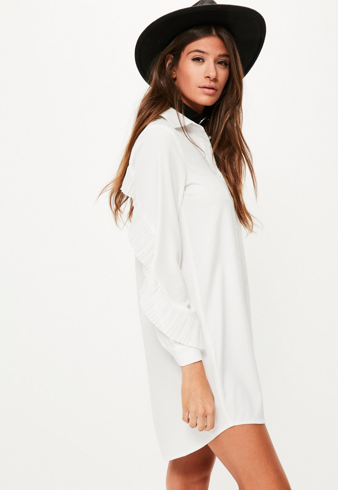 White Pleated Ruffle Back Shirt Dress | Missguided