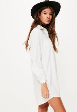 White Pleated Ruffle Back Shirt Dress