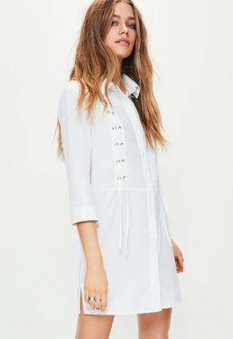 White Lace Up Front Shirt Dress