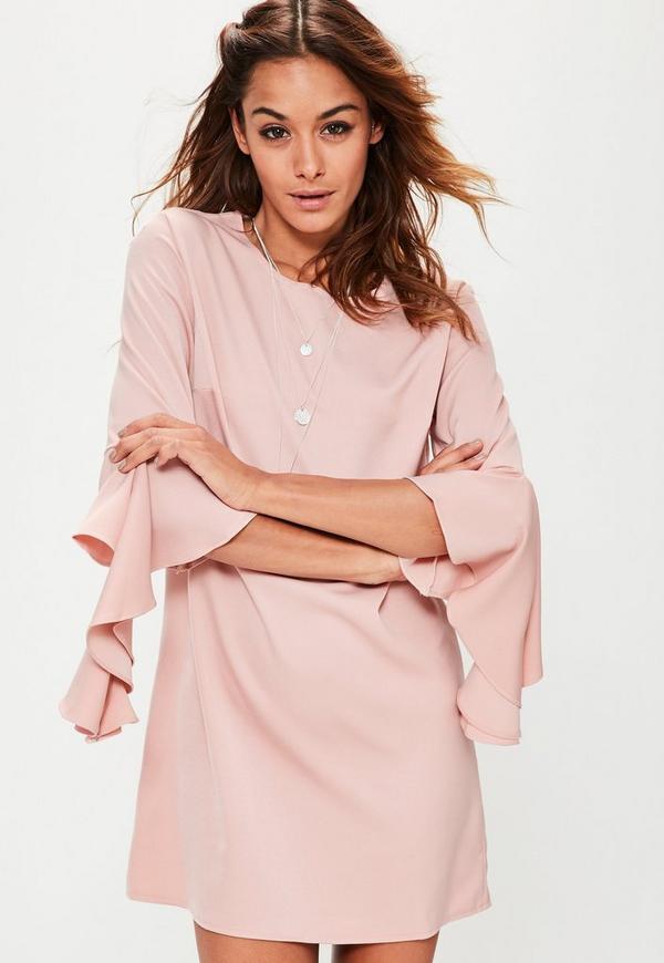 Pink Ruffle Sleeve Shift Dress