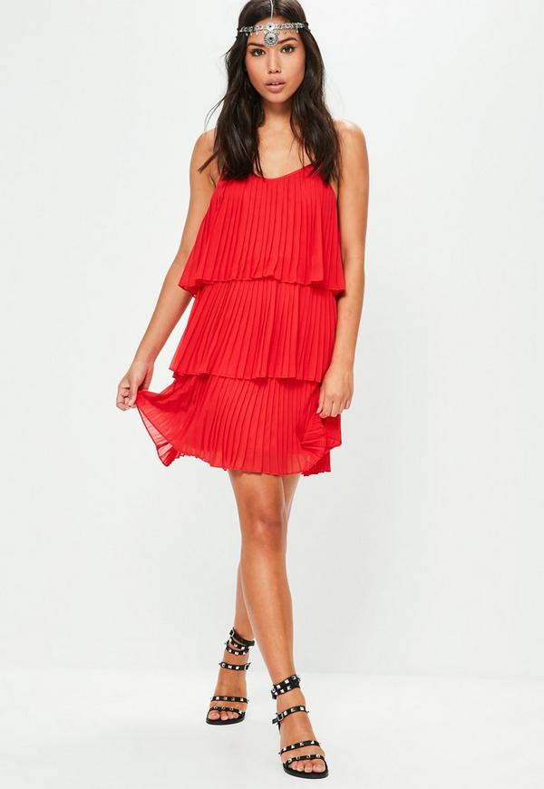 Red Pleated Layered Swing Dress | Missguided
