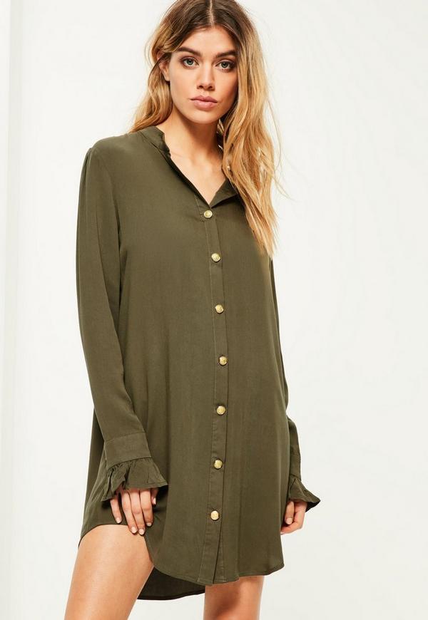 Khaki Gold Button Deep Cuff Shirt Dress