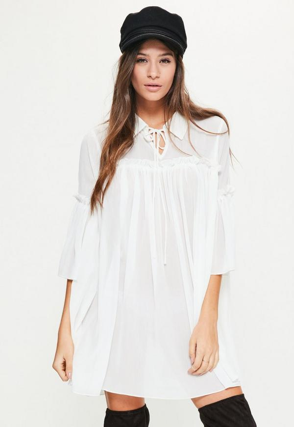 White Collar Chiffon Smock Dress