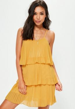 Yellow Pleated Layered Swing Dress