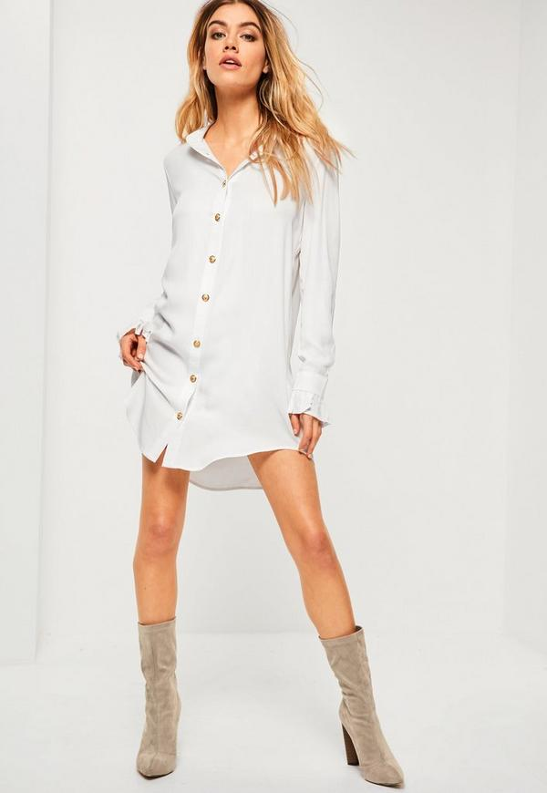 White Gold Button Deep Cuff Shirt Dress Missguided