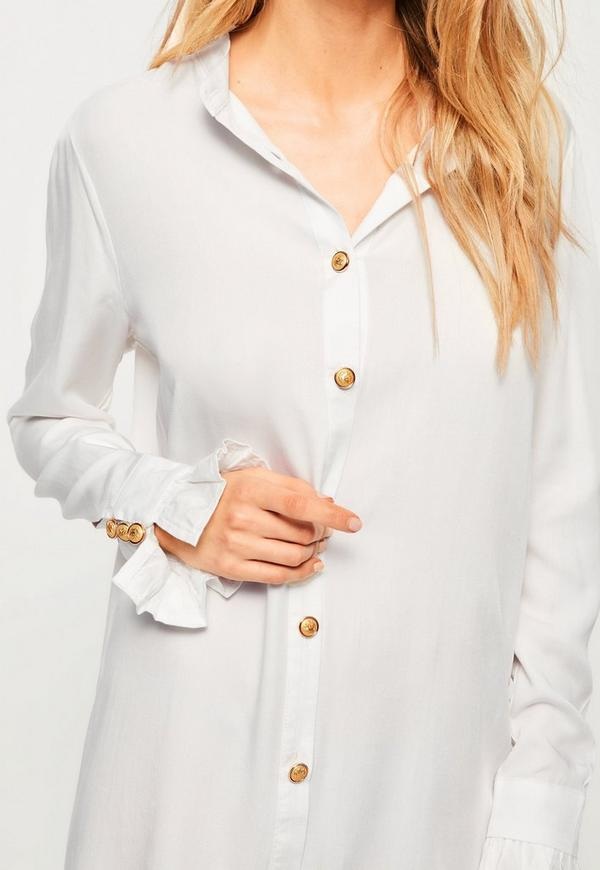 White Gold Button Deep Cuff Shirt Dress | Missguided
