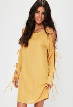 Yellow Tie Sleeve Detail Cold Shoulder Shift Dress