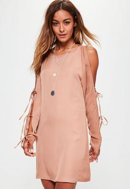 Pink Tie Detail Cold Shoulder Shift Dress