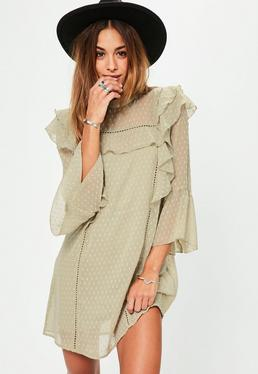 Green Dobby Frill Front Dress